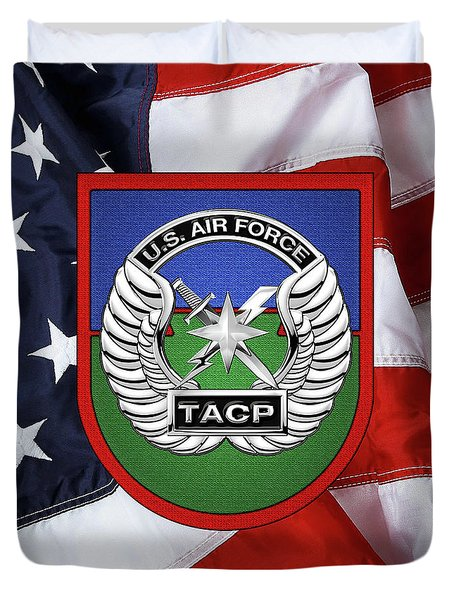Duvet Cover featuring the digital art U. S.  Air Force Tactical Air Control Party -  T A C P  Beret Flash With Crest Over American Flag by Serge Averbukh