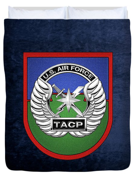 Duvet Cover featuring the digital art U. S.  Air Force Tactical Air Control Party -  T A C P  Beret Flash With Crest Over Blue Velvet by Serge Averbukh