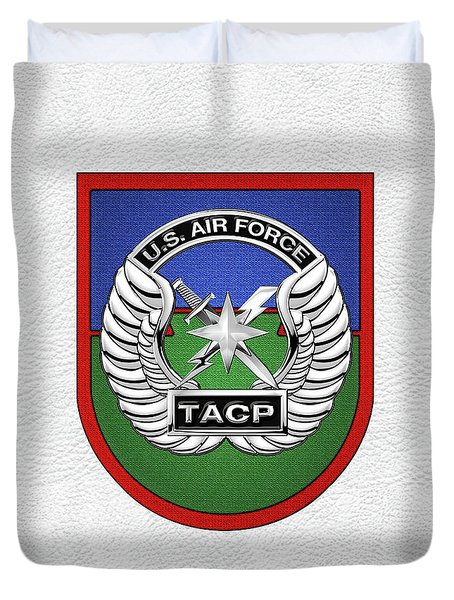 Duvet Cover featuring the digital art U. S.  Air Force Tactical Air Control Party -  T A C P  Beret Flash With Crest Over White Leather by Serge Averbukh