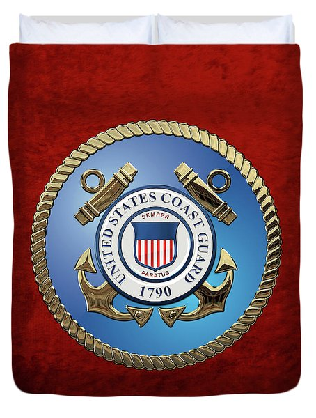U. S. Coast Guard - U S C G Emblem Duvet Cover