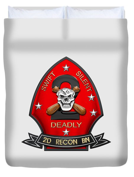 U S M C  2nd Reconnaissance Battalion -  2nd Recon Bn Insignia Over White Leather Duvet Cover