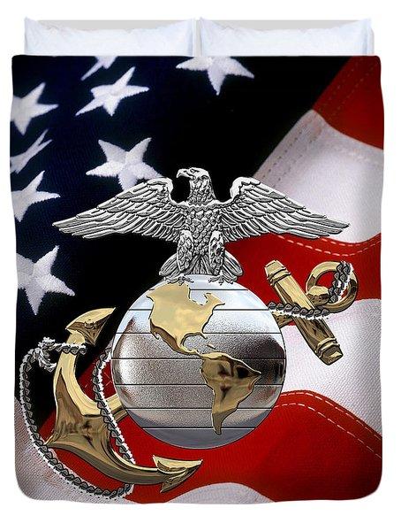 U S M C Eagle Globe And Anchor - C O And Warrant Officer E G A Over U. S. Flag Duvet Cover