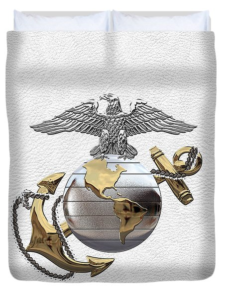 U S M C Eagle Globe And Anchor - C O And Warrant Officer E G A Over White Leather Duvet Cover