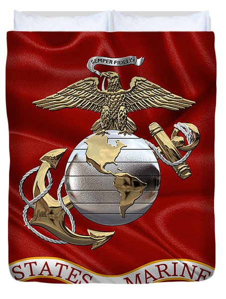 U. S.  Marine Corps - U S M C Eagle Globe And Anchor Over Corps Flag Duvet Cover