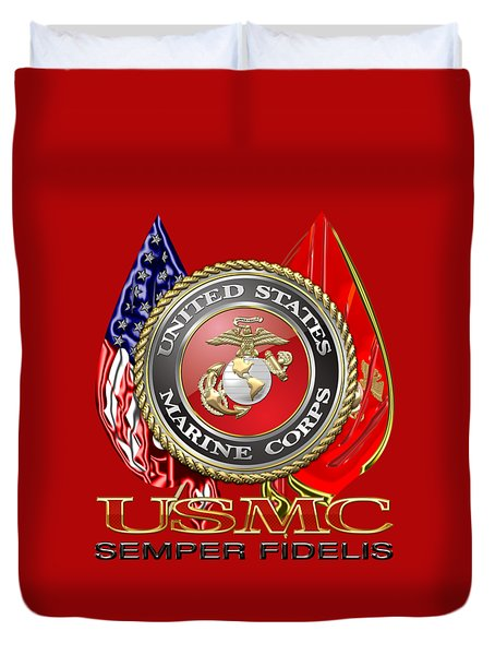 U. S. Marine Corps U S M C Emblem On Red Duvet Cover by Serge Averbukh