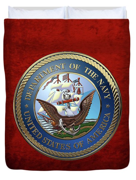 U. S.  Navy  -  U S N Emblem Over Red Velvet Duvet Cover