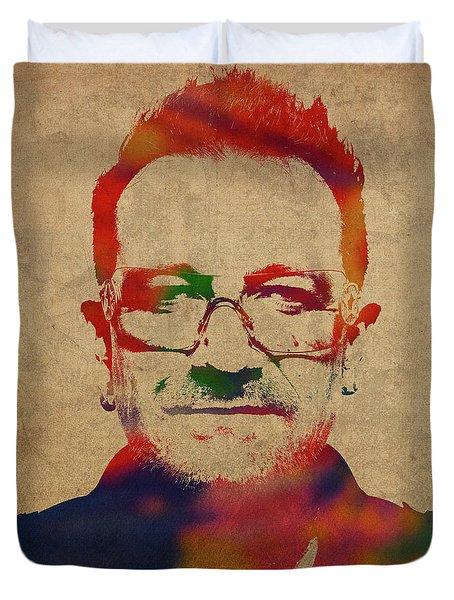 U2 Bono Watercolor Portrait Duvet Cover