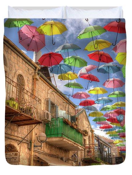 Umbrellas Over Jerusalem Duvet Cover