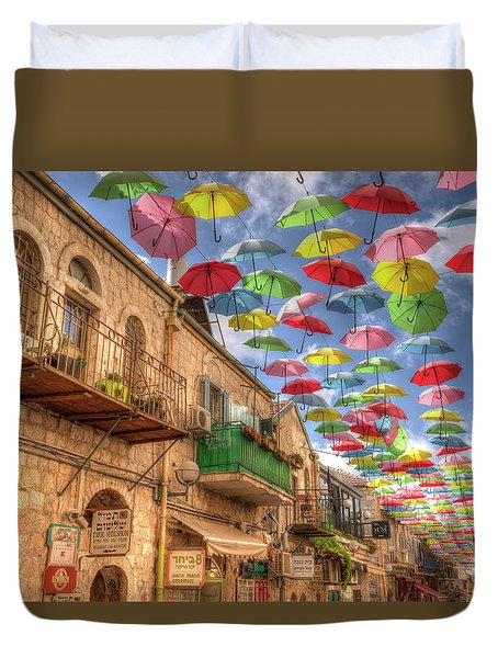 Umbrellas Over Jerusalem Duvet Cover