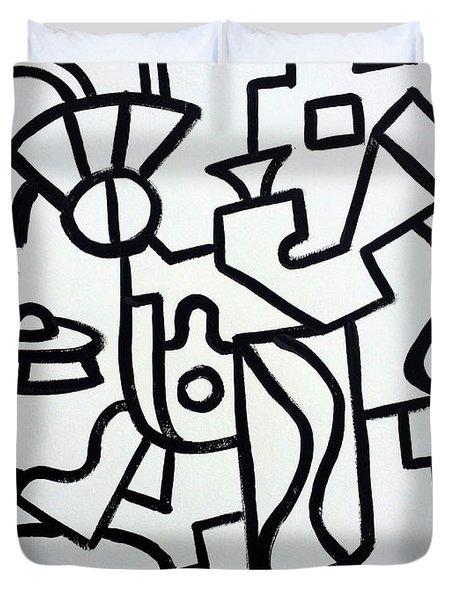 Ufo Creative Intelligence By Robert R Print Original Abstract Painting Modern Art Duvet Cover