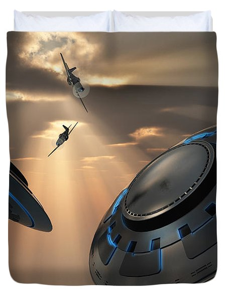 Ufos And Fighter Planes In The Skies Duvet Cover by Mark Stevenson