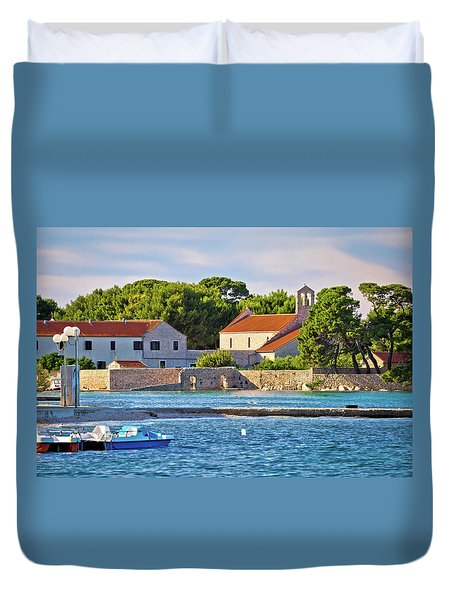 Ugljan Island Village Old Church And Beach View Duvet Cover by Brch Photography