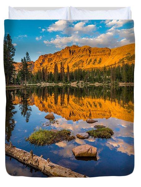 Uinta Mountains Sunset - Hayden Peak - Butterfly Lake - Utah Duvet Cover