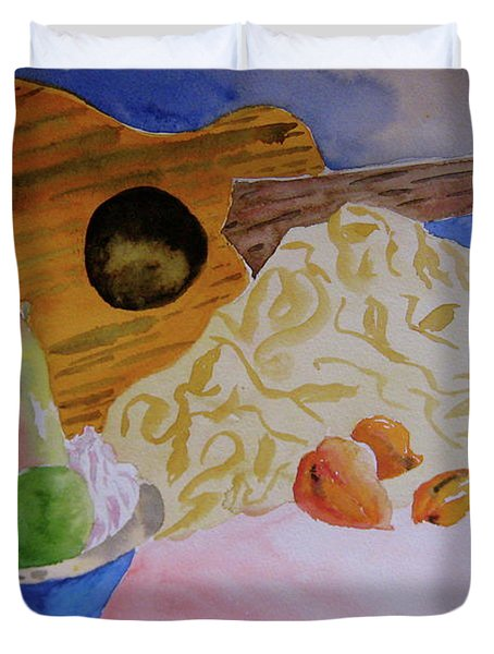 Duvet Cover featuring the painting Ukelele by Beverley Harper Tinsley
