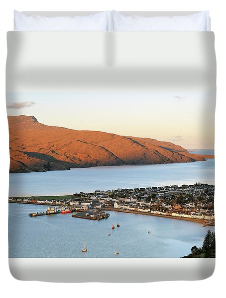 Duvet Cover featuring the photograph Ullapool Morning Light by Grant Glendinning