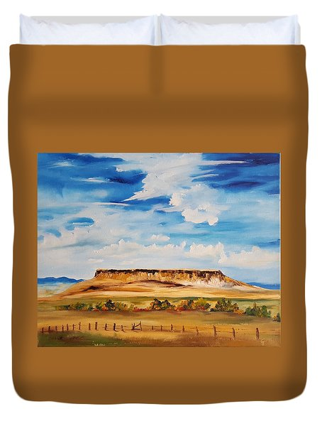 Ulm Montana First People's Buffalo Jump   93 Duvet Cover