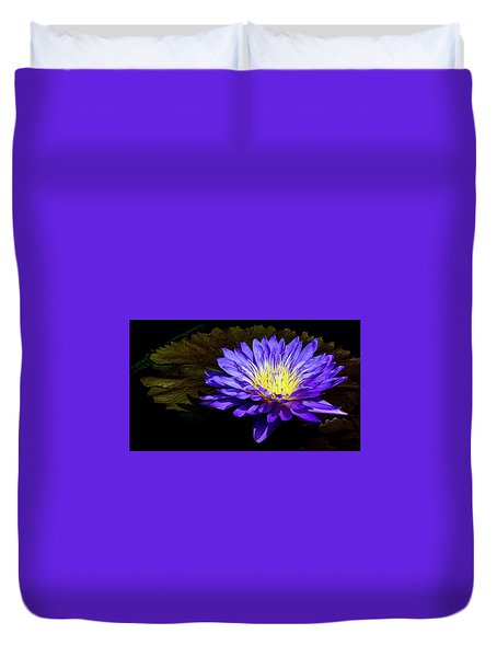 Duvet Cover featuring the photograph Ultra Violet Tropical Waterlily by Julie Palencia