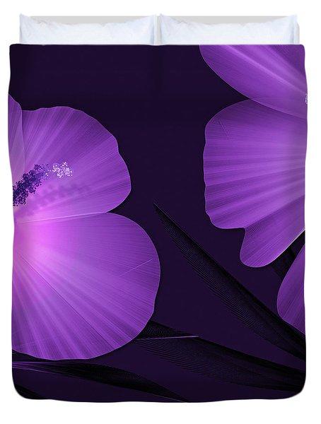 Ultraviolet Hibiscus Tropical Nature Print  Duvet Cover