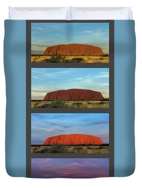 Duvet Cover featuring the photograph Uluru Sunset by Werner Padarin