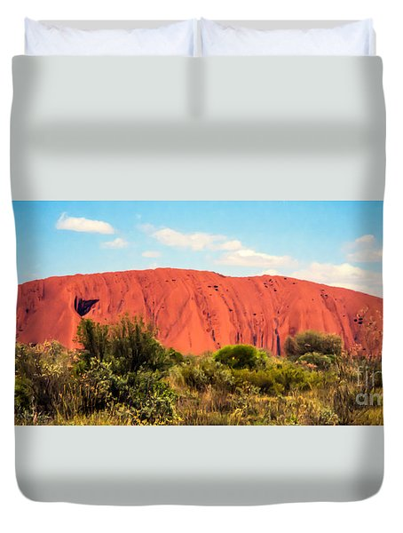 Duvet Cover featuring the photograph Uluru by Suzanne Luft