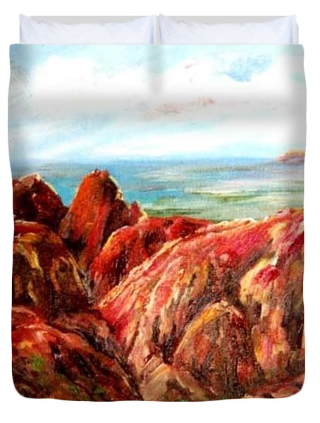 Uluru Viewed From Kata Tjuta Duvet Cover