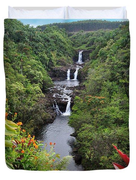 Umauma Falls Hawaii Duvet Cover