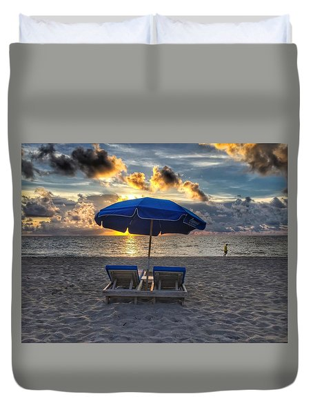 Umbrella For Two Duvet Cover