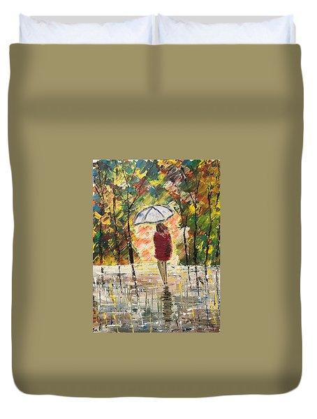 Umbrella Girl Duvet Cover