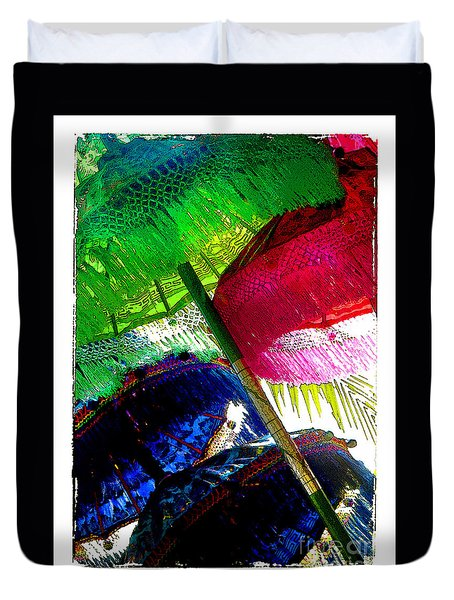 Umbrellas Colorful Duvet Cover by Linda Olsen