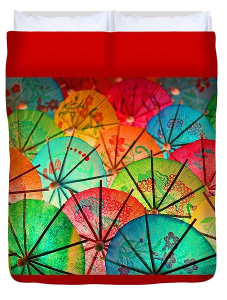 Umbrellas Galore Duvet Cover by Bobby Villapando