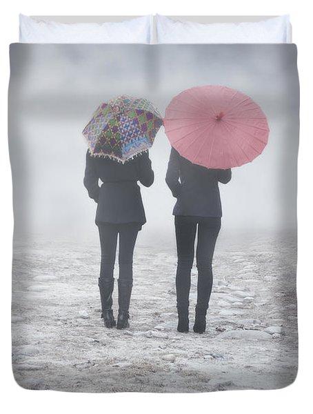 Umbrellas In The Mist Duvet Cover by Joana Kruse