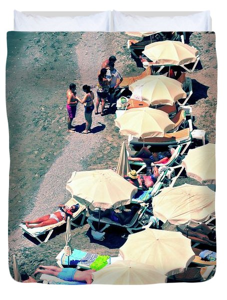 Duvet Cover featuring the photograph Umbrellas On The Beach - Nerja by Mary Machare