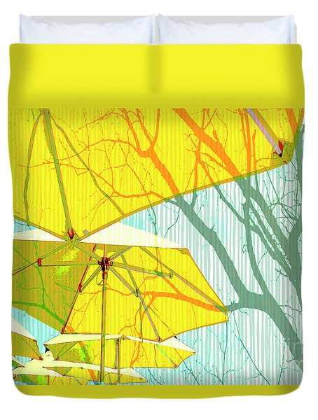 Umbrellas Yellow Duvet Cover