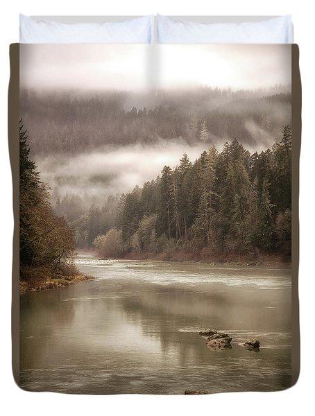 Umpqua River Fog Duvet Cover