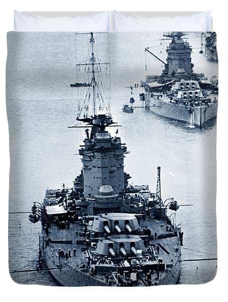 Hms Nelson And Hms Rodney Battleships And Battlecruisers Hms Hood Circa 1941 Duvet Cover