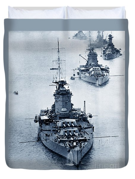Hms Nelson And Hms Rodney Battleships And Battlecruisers Hms Hood Circa 1941 Duvet Cover by California Views Mr Pat Hathaway Archives