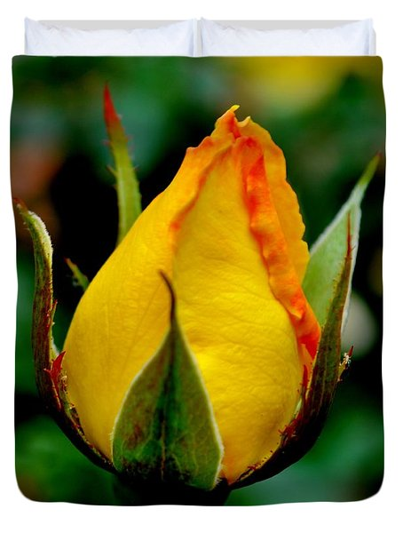 Unbloomed Yellow Rose Duvet Cover