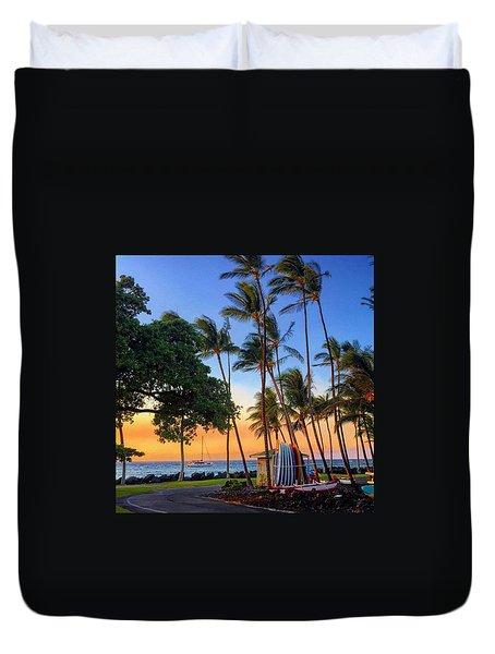 Uncle Gary's Beach Shack At Sunset Duvet Cover