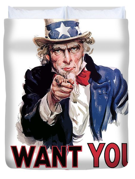 Uncle Sam -- I Want You Duvet Cover
