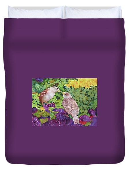 Duvet Cover featuring the painting Unconditional Love by Judy Mercer