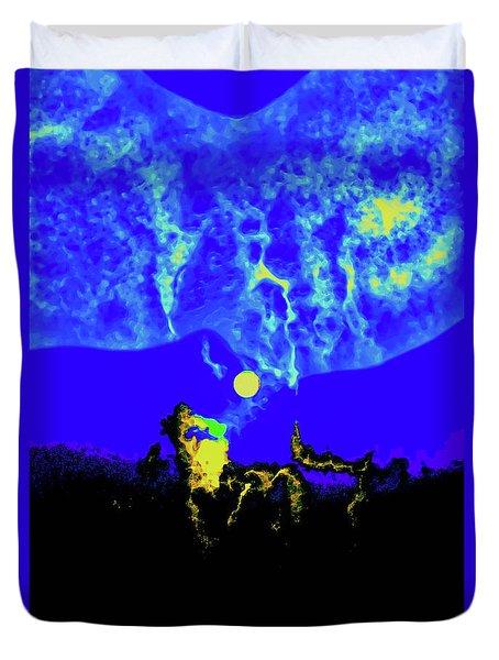 Under A Full Moon Duvet Cover