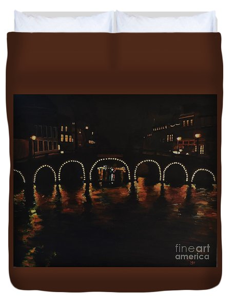 Under A Lighted Bridge In Amsterdam Duvet Cover