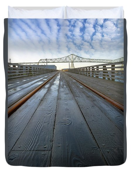 Under Astoria Megler Bridge On Riverwalk Duvet Cover