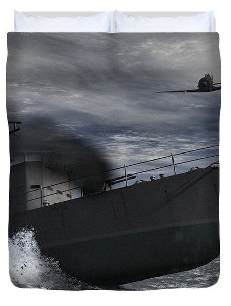 Under Attack Duvet Cover by Richard Rizzo