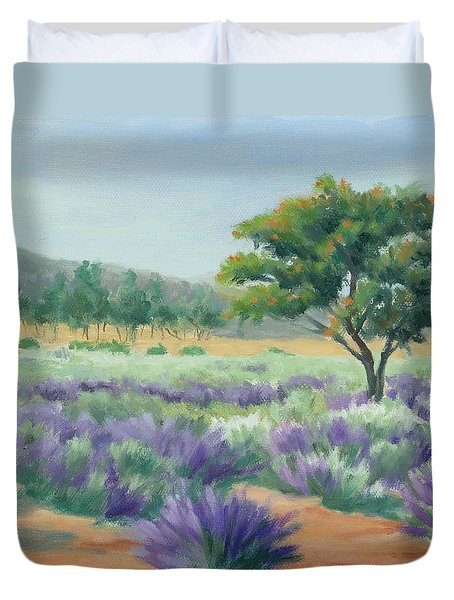 Duvet Cover featuring the painting Under Blue Skies In Lavender Fields by Sandy Fisher