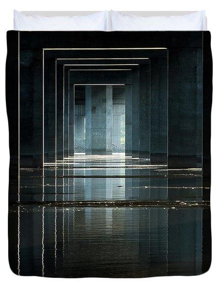 Under Clark Bridge Duvet Cover by Jae Mishra