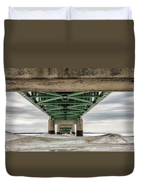 Duvet Cover featuring the photograph Under Mackinac Bridge Winter by John McGraw