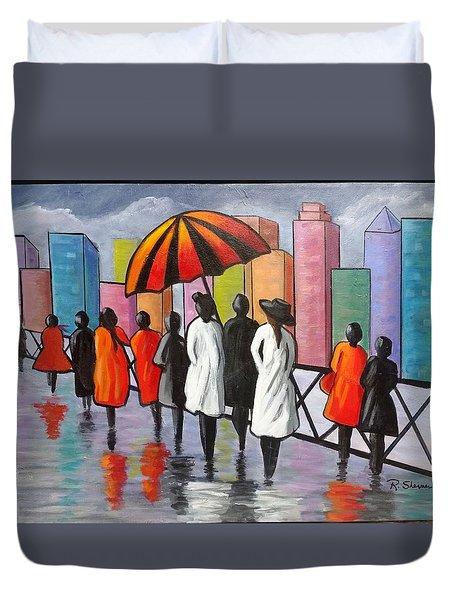 Under My Umbrella Duvet Cover