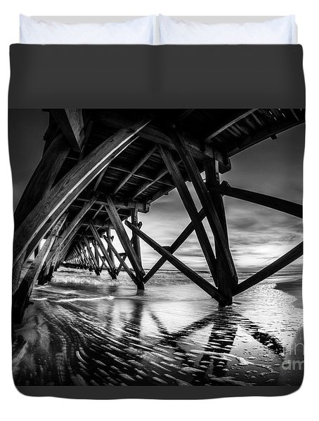 Under Sea Cabin Pier At Sunset Duvet Cover