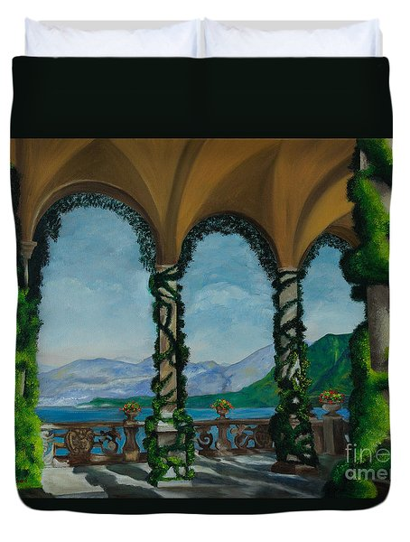 Under The Arches At Villa Balvianella Duvet Cover by Charlotte Blanchard